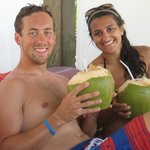 Sitting in the cabana with fresh coconut water!