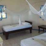 A family fale. The other side of the room had a 3rd single bed and a double bed