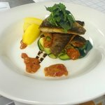 seabass, courgette, sweet pepper, balsamic, Saffron potatoe