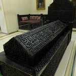 A wooden 15th century sarcophagus on display.