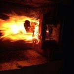 Open fireplace.