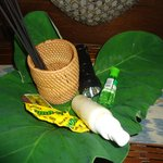room amenities...insect repellent, medicine, torch, incense sticks