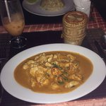 Panang chicken curry and rice