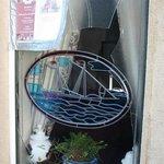 Broken restaurant window