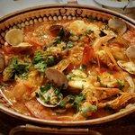 Monkfish, clams and prawn cataplana