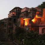 The Rath Mahal suite's balconies are the two lit up by lights.  Almost the highest level of the