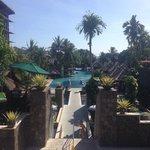 Walk down to pool area alongside slides