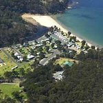 Eden Beachfront  - Aerial view, the only caravan park in Eden to enjoy absolute beachfrontage