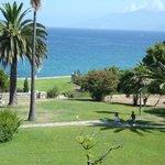 Vue du parc et de la baie de Saint Florent depuis la chambre