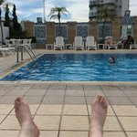 Relaxing at the roof pool.