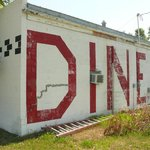 Highway sign on rear wall of the diner