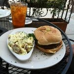 Cheeseburger with potato salad & sweet tea