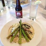 Swordfish with grilled asparagus and Gouda grits.