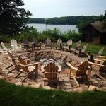 Stout's Island Lodge Bonfire Pit and view of the lake.