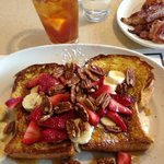 French toast with strawberries and pecans