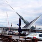 Twin sails bridge. View from the beer garden.