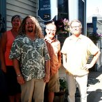 Nancy and Fred (orange shirt) with Pelham House owners and new friends David and Michael
