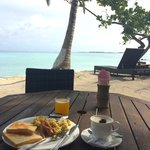 Having breakfast on the beach