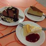 Mud Pie, caramel pecan cheesecake and white chocolate cheesecake