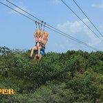 kids ziplining above the jungle!