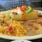 A generous sized chimichanga plate
