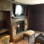Big Screen TV and Fireplace (DVD and Surround Sound)