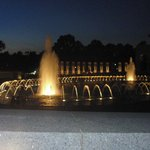 Night view of the WWII Memorial