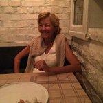 My friend Lisa enjoying herself at the restaurant!