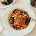 """Fettuccine """"aux Fruits de Mer"""" w/ Rock Shrimp, Mussels, Squid, Tomato, Saffron & Pastis"""