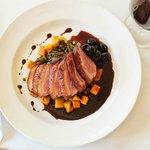 Seared L. I. Duck Breast w/ Lentils du Puy, Butternut Squash, Braised Kale & Bing Cherries