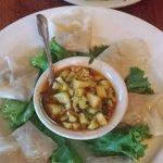 The salmon dumplings and beet salad