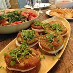 Stacked fried green tomatoes