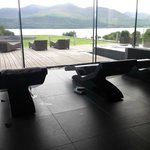 Spa area with hot marble loungers
