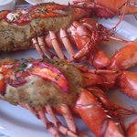 Twin baked stuffed lobsters. Seasoning needed in the stuffing. Lobster moist despite the baking.