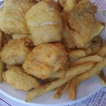 Fried haddock pieces. Nice batter and not overly greasy.