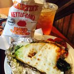 Pesto chicken pita with mint green iced tea..perfect.