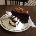 Chocolate Cake and Cream and Sauce