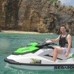 Enjoying the adventure tour on jetskis
