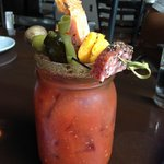 The BEST Bloody Mary--note the dilly bean front and center!