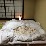 Futon rolled out at night