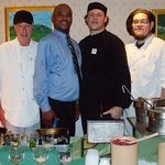 The brigade de cuisine at Harper's. From left to right, Chef Tony, Maitre d Jonathan and line co