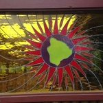 Stained glass at outdoor seating