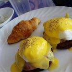 Eggs Benedict with potato pancakes
