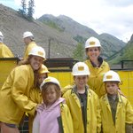 Getting on tram to go into Old Hundred Gold Mine