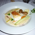 Pan seared Halibut and vegetable 'hodge podge'