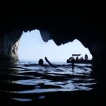 Swimming inside the cave