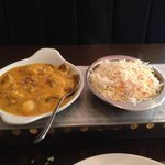 Delicious Lamb Kashmir with Pilau rice. If you like fruity curries this one is superb