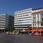 The Athens city sightseeing bus at its starting point in Syntagma square.