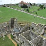 The view from the Norman keep, out to the Roman walls.