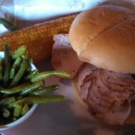Smoked turkey sandwich, green beans and fried corn on the cob